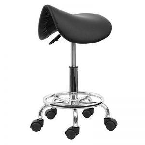 Iglobalbuy Chaise de Selle Pivotante Hydraulique, Hauteur Réglable 51 à 65CM Tabouret à Roulettes Polyvalent pour Salon de Massage/Tatouage/Manucure /Cosmétique /SPA/Beauté/Artiste NOIR de la marque image 0 produit
