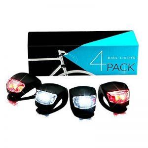 Lampe de Vélo Avant et Arrière, SGODDE Set D'éclairage Phare et Feu Arrière Puissant avec 2*Rouge+2*Blanc LED Lumière Vélo Impermeable pour VTT VTC Cyclisme Poussette Camping Course de la marque image 0 produit