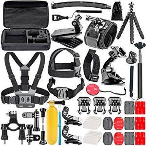 Neewer 50-En-1 Kit d'Accessoires d'Appareil Photo d'Action pour GoPro Hero 4/5 Session, Hero 1/2/3/3 + / 4/5, SJ4000 / 5000, Nikon et Sony Sports DV dans Natation Aviron Escalade Vélo Camping et Plus de la marque image 0 produit