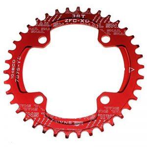 seul Plateau de pédalier 38T Fomtor Bike étroit Large plateaux pour 91011vitesses, parfait pour la plupart de vélo pour vélo de route VTT BMX VTT fixie Track Pignon Fixe pour vélo (104BCD, rond, Rouge) de la marque image 0 produit