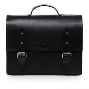 SID & VAIN® serviette BOSTON unisexe - grand mallette sacoche pour ordinateur, étui PC portable 15.4 pouces laptop iPad 15 - sac de travail avec sangle homme et femme noir en cuir véritable de la marque image 0 produit